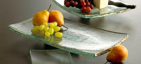 "Annieglass  Slab 15 ½ x 8"" rectangular slab with pedestal $189.00"