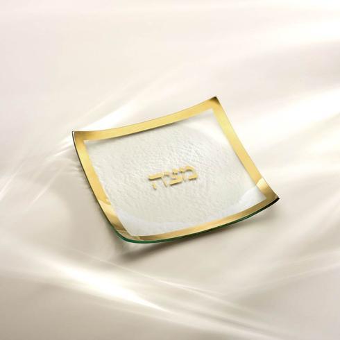 "Annieglass  Judaica 10 x 10"" square matza plate $137.00"