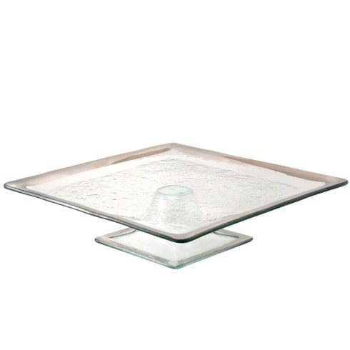 "Annieglass  Roman Antique 12 1/2  x 12 1/2"" square cake stand $284.00"