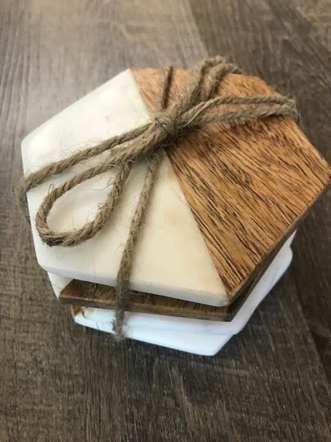 Hexagon Marble and Wood Coasters Set of 4 collection with 1 products