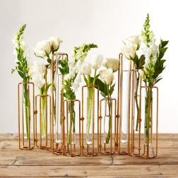 $149.00 Lavoisier Set of 10 Hinged Flower Vases with Antique Gold Finish
