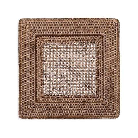 $23.50 Rattan Square Plate Charger in Dark Natural