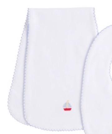 $30.00 Pinpoint Burp Cloth Sailboat