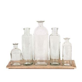 Wood Tray with 5 Glass Bottles collection with 1 products