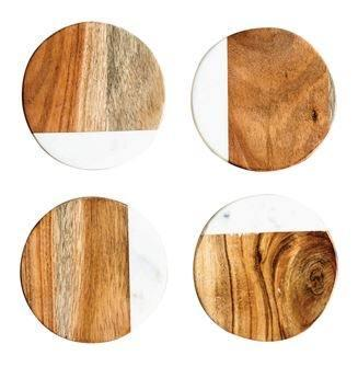 Round Marble and Wood set of 4 Coasters collection with 1 products