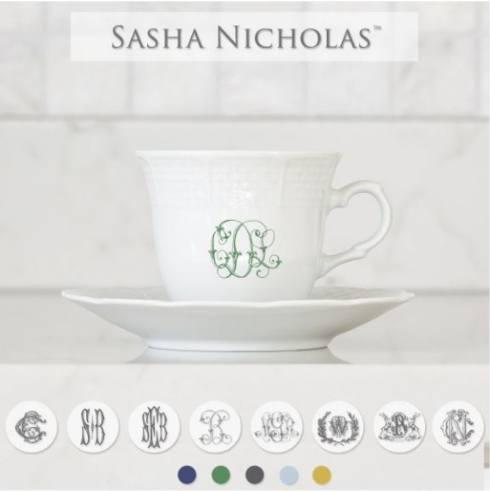 Sasha Nicholas   Weave Cup and Saucer with Choice of Monogram Style $44.00