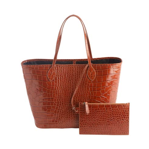 $495.00 Leather Croc-Embossed Wide Tote Bag & Wristlet
