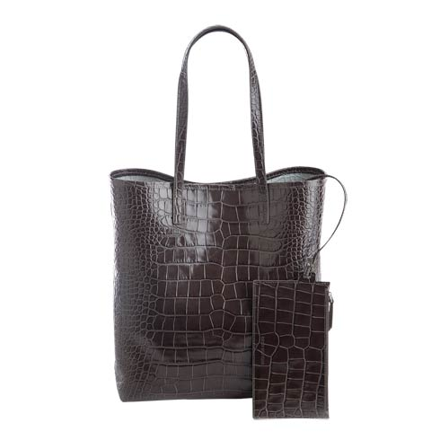 $495.00 Leather Croc-Embossed Tall Tote Bag & Wristlet