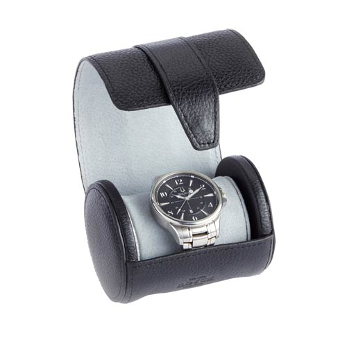$130.00 Leather Executive Travel Watch Roll In Smooth Genuine Leather With Suede Interior, Fits 1 Watch
