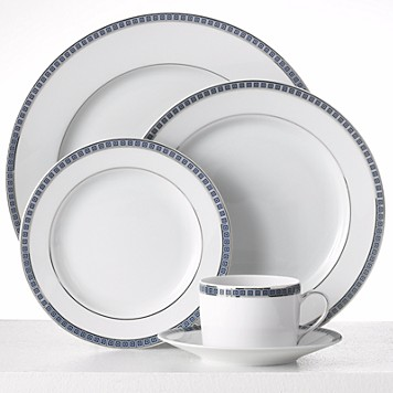 $315.00 Athena Platinum Navy 5pc Setting