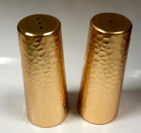 Alioto's Exclusives   Hammered Gold Salt & Pepper Shaker Pair $40.00