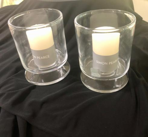 Alioto\'s Exclusives   Simon Pearce Small Nantucket Pair of Hurricane Candle Holders $250.00