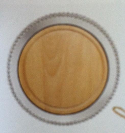 Pearled Round Platter w/Wood Insert