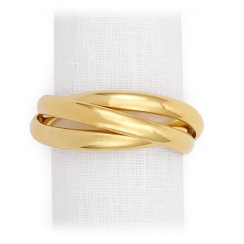 L'Objet   Gold Three Ring Napkin Jewels (Set of 4) $150.00
