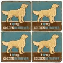 Alioto's Exclusives   Studio Verta Golden Retriever Coaster $12.00
