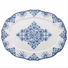 """$50.00 Le Cadeaux Melamine Moroccan Blue Platter (22"""" x 17"""")"""