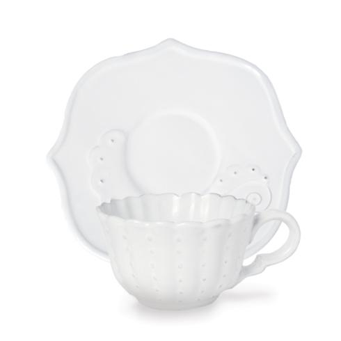 Arte Italica  Bella Bianca Stoneware Beaded Flora Cup & Saucer $61.00