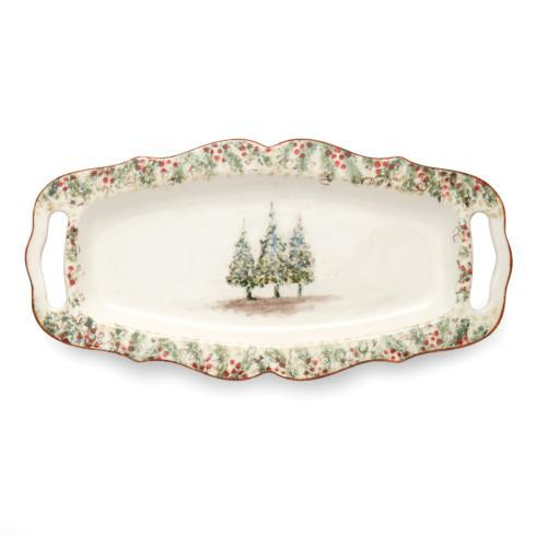 Arte Italica  Natale Long Rectangular Tray with Handles $202.00
