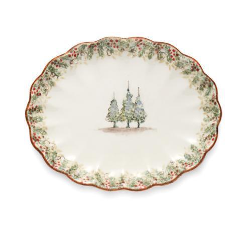 Arte Italica  Natale Scalloped Oval Platter $178.00