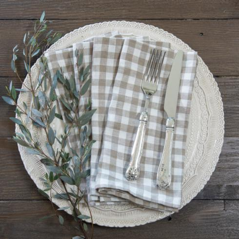 $53.00 Taupe Check, set of 4