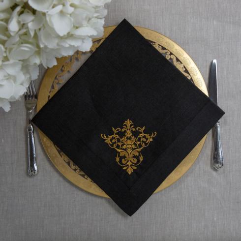 Arte Italica  Napkins by Crown Linen Designs Victorian, Black/Gold $24.00
