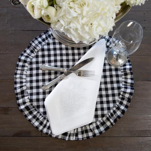 Arte Italica  Placemats by Crown Linen Designs Linen Round Ruffle, Black Check $20.00
