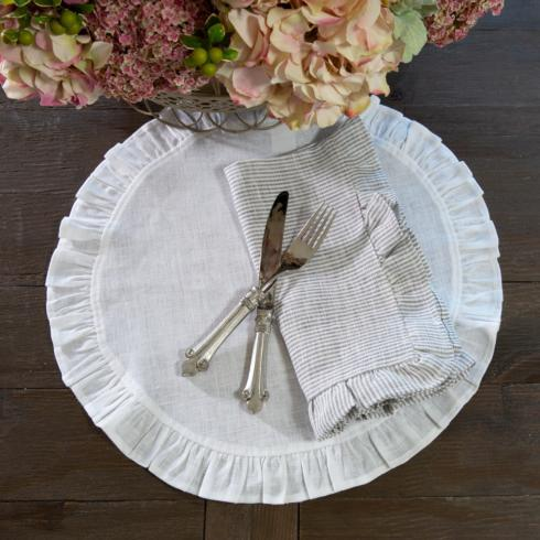 $20.00 Linen Round Ruffle, White