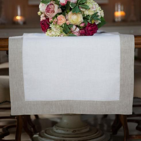Arte Italica  Runners by Crown Linen Designs White/Flax Frame 22 x 70 $80.00