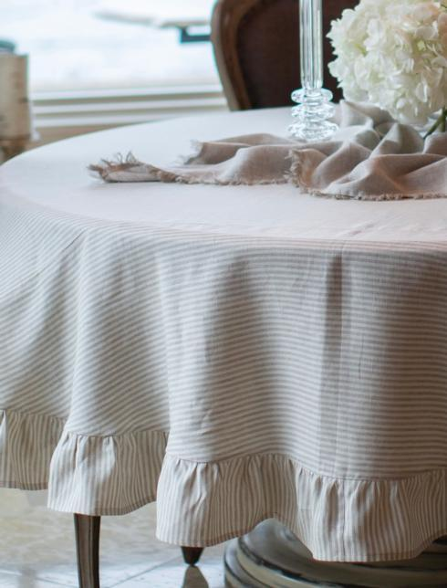 "$160.00 Flax Stripe Tablecloth 90"" Round"