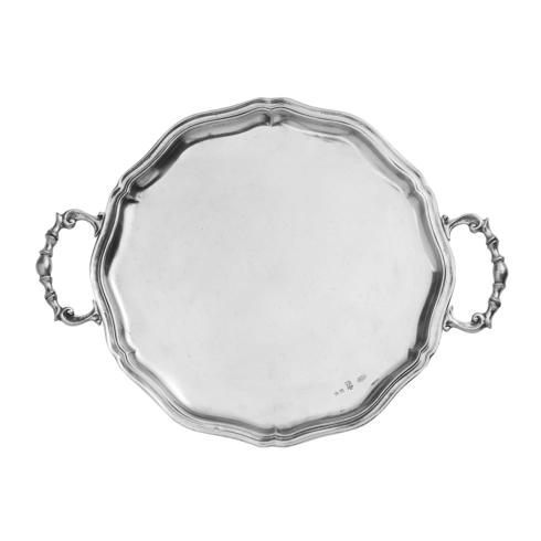 Arte Italica  Vintage Pewter Scalloped Tray with Handles $315.00