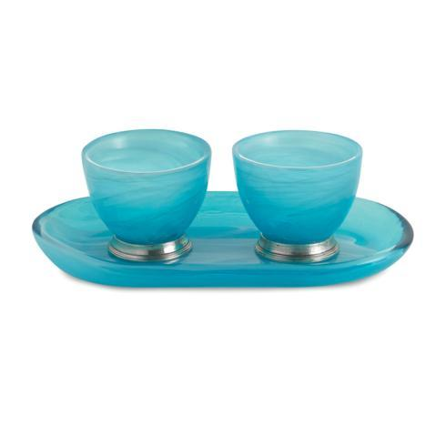Arte Italica  Volterra Aqua Oval Platter with Dipping Bowls $85.00