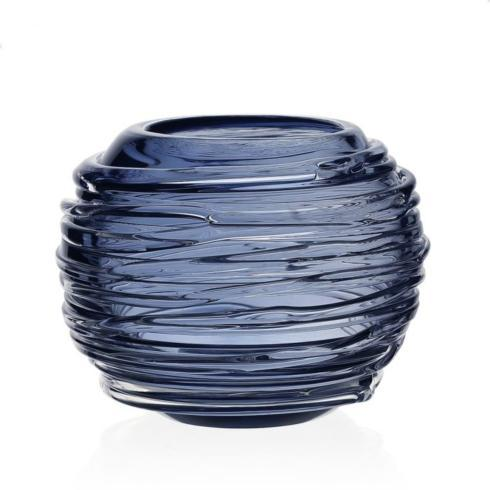 "$235.00 Miranda Globe 4"" Vase Steel Blue"