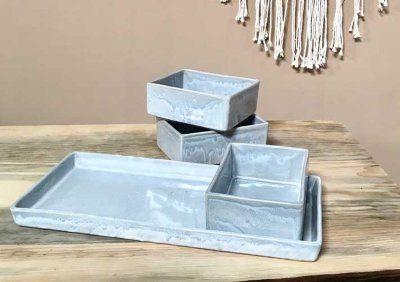 Alex Marshall   Speckled Blue Gourmet Rectangular Tray AMS-427 $88.00
