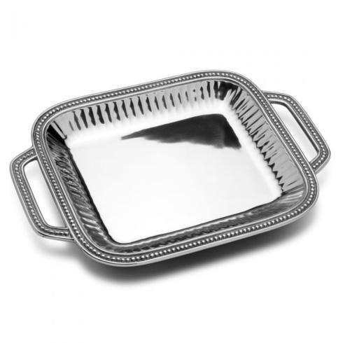 Wilton Armetale  Flutes and Pearls Rectangular Tray w/Handles WLT-052 $88.00