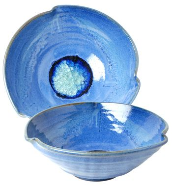 Babcock Exclusives  Kerry Brooks Pottery Medium 3 Pinch Bowl w/Glass Assorted KER-272 $60.00