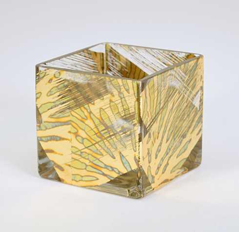 $31.00 3x3 Cube Vase Gold Slash TCH-002