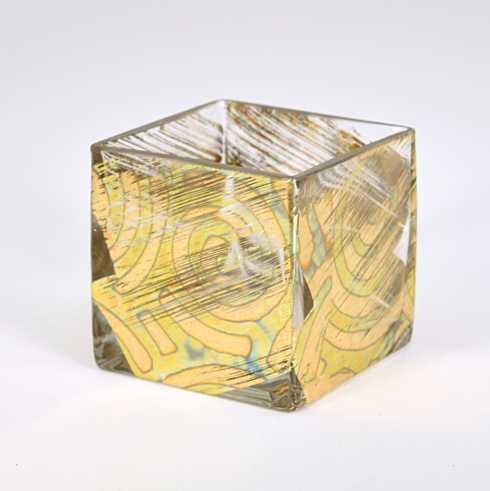 Tamara Childs   4x4 Cube Vase Gold Slash TCH-006 $41.50