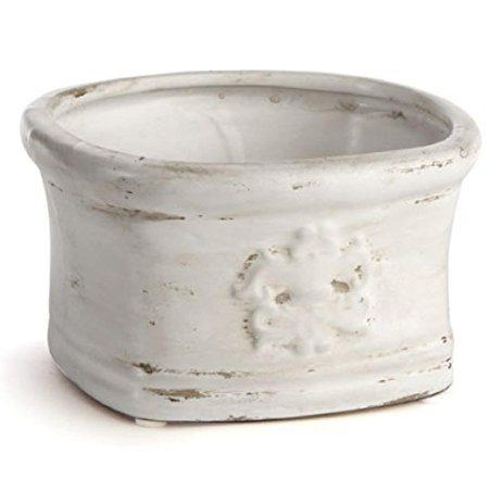 Napa Home & Garden   Mini White Oval Pot w/Medallion NAP-307 $14.00