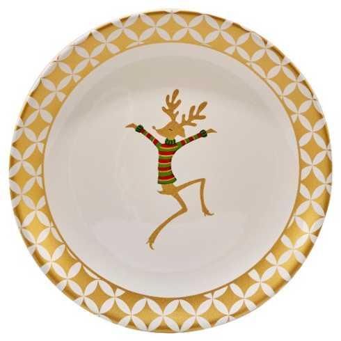 Certified International   Gold Dancing Reindeer Round Platter CIC-003 $36.00