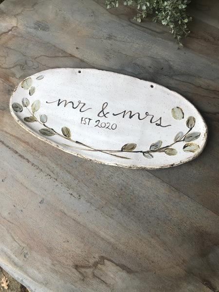 Etta B Pottery  Wedding Mr. and Mrs. Plaque 2020 EBP-490 $70.00