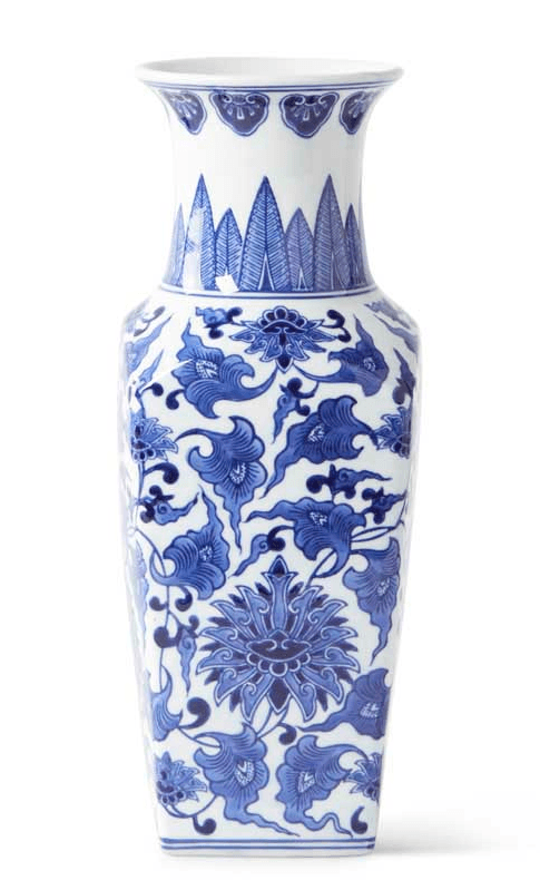 "14"" Blue and White Chinoiserie Square Vase KAK-077"