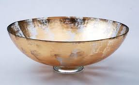 "$211.00 15"" Bubble Glass Bowl Gold Slash TCH-210"
