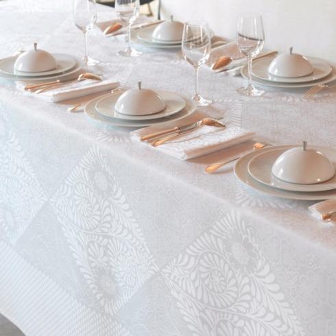 Le Jacquard Francais   Bosphore White 69x69 Tablecloth LJ-532 $245.00