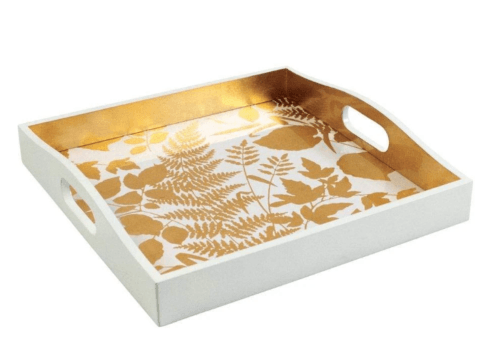 Babcock Exclusives  Caspari Modern Fern Gold/White Square Tray CAS-167 $135.00
