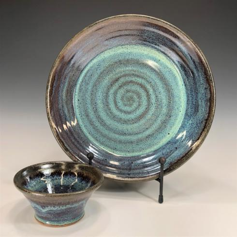Babcock Exclusives  Steve Tubbs Pottery Blue Galaxy Chip & Dip STP-009 $70.00