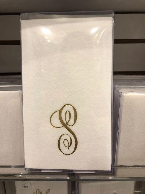 Babcock Exclusives  Fabsco Guest Towels w/Gold Initial Assorted FCO-028 $9.00
