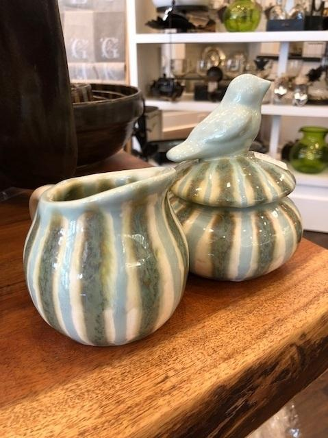 Good Earth Pottery  Teal Creamer & Sugar Set GOE-588 $93.50
