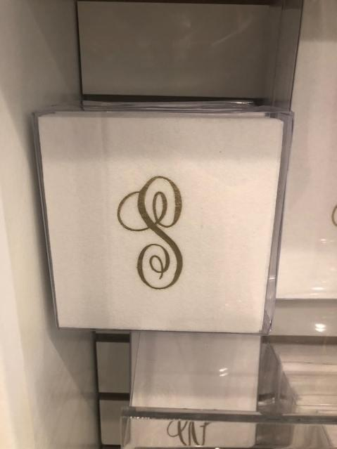Babcock Exclusives  Fabsco Beverage Napkins w/Gold Initial Assorted FCO-029 $7.50