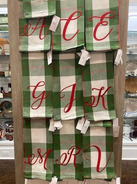 $15.50 Green/Red Plaid Initial Tea Towel Assorted HBT-027