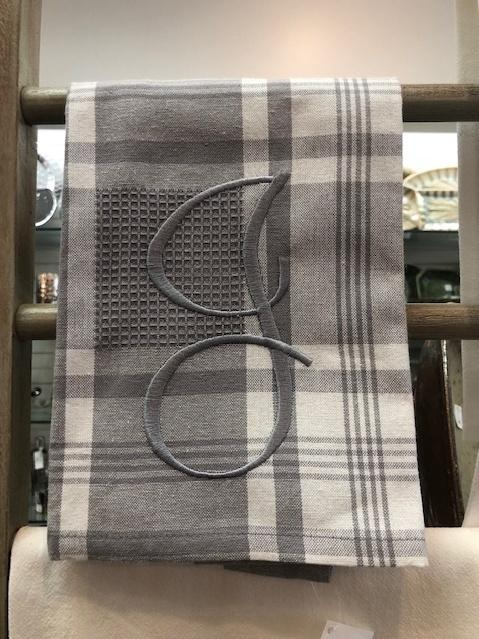 Babcock Exclusives  Hanging By a Thread Grey Window Pane Towel w/Initial HBT-173 $14.50